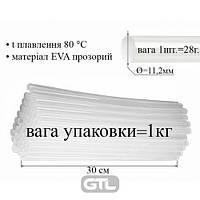 Термо клей в стержнях 11, 2 мм х 300 мм, 1 упак = 1 кг / 25 кг / ящ, прозрачный (36),Peri, ТКП-11,2-300, 32119