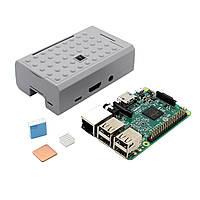 3 В 1 Raspberry Pi 3 Модель B Board + серый ABS Дело Shell Корпус + Алюминий Медь теплоотводом Kit