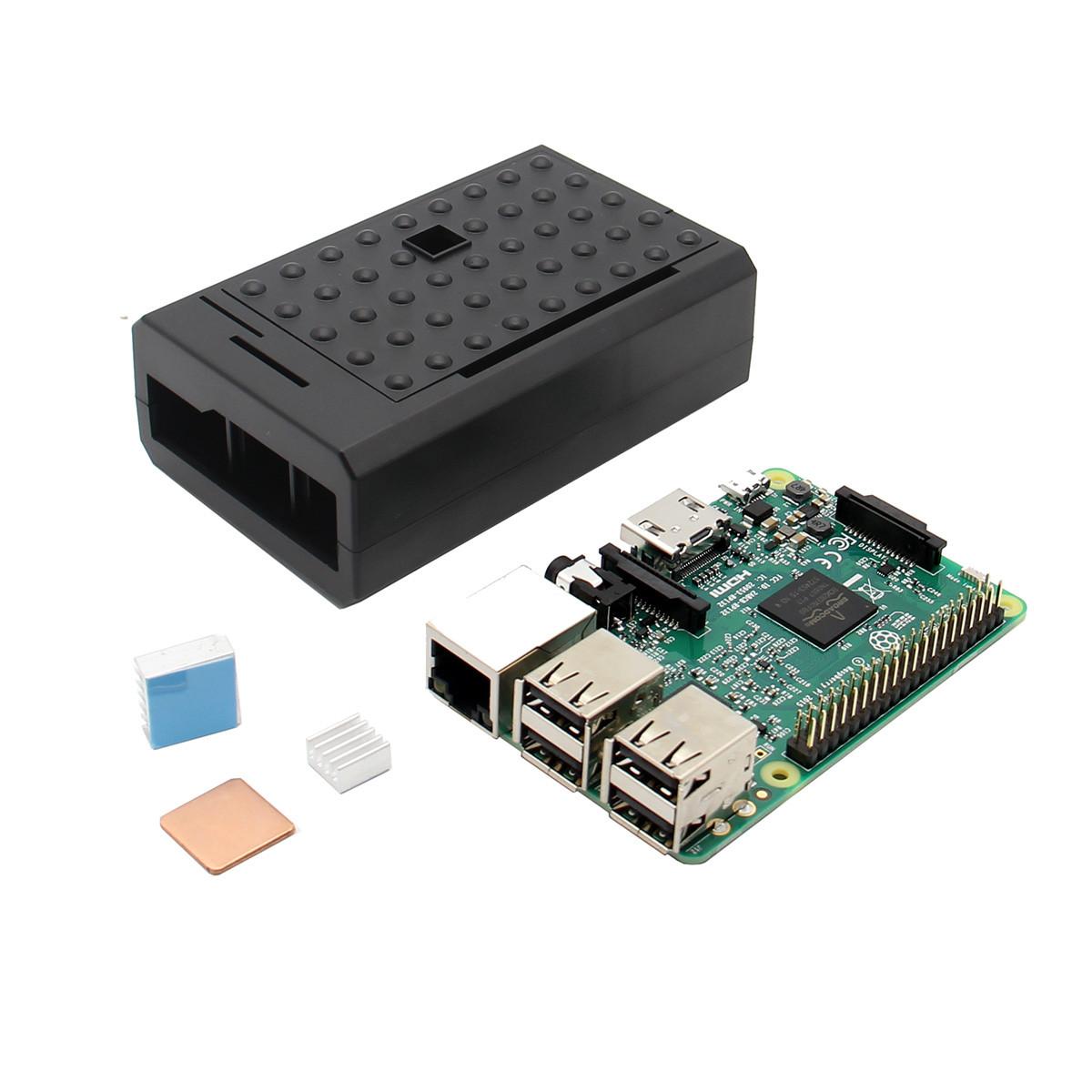 3 В 1 Raspberry Pi 3 Модель B Board + черный ABS Дело Shell Корпус + Алюминий Медь теплоотводом Kit 1TopShop