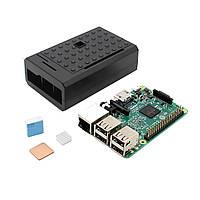 3 В 1 Raspberry Pi 3 Модель B Board + черный ABS Дело Shell Корпус + Алюминий Медь теплоотводом Kit