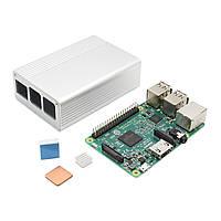 3 В 1 Raspberry Pi 3 Модель B Совет + белый алюминиевого сплава + Алюминий Медь теплоотводом Kit