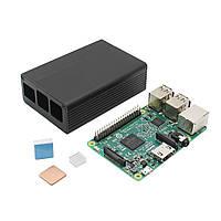 3 В 1 Raspberry Pi 3 Модель B Совет + черный Дело алюминиевого сплава + Алюминий Медь теплоотводом Kit