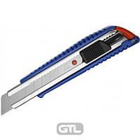 Нож канцелярский большой, лезвие 18 мм, металлические направляющие, пластиковый корпус, АВТОLOCK, угол лезвия 58 градусов, синий,NT Cutter, L-300RP