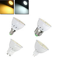 E27 E14 GU10 MR16 4W 54 SMD 2835 LED Прозрачная белая лампа с подсветкой белого цвета AC110V / 220V