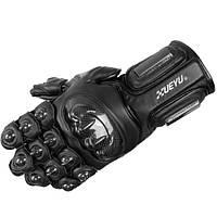 Углеродного волокна кожаные перчатки Skidproof полный палец для гонок на велосипеде