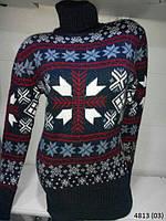 Теплая зимняя  под горло свитер-туника  СнежинкаТурция 42-46