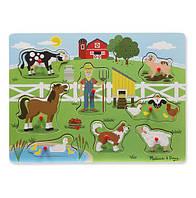 """Деревянный развивающий звуковой пазл """"Ферма старого Макдональдса"""" / Old McDonald""""s Farm ТМ Melissa & Doug MD738"""