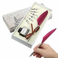 Старинные гусиное перо гусиное перо металла крупка провал писать набор черных чернил подарок с коробкой