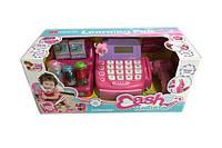Детский кассовый аппарат игрушка касса супермаркета 35505 на батарейках с ЛСД-дисплеем полка с товаром в коробке