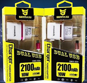 Сетевое зарядное устройство СЗУ SENMAXU 2в1 Micro SMX-004 (2 USB/2.1 A), фото 2