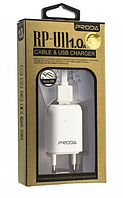 Сетевое зарядное устройство СЗУ REMAX PRODA RP-U11 (1A) + кабель micro USB белый