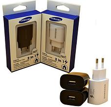 Адаптер СЗУ USB Samsung 2в1 Fast Charging 2A (в упаковке) черный