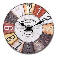 Винтажный стиль декора красочные круглые стены деревянные часы офиса домой гостиной