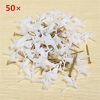 50шт пластиковый белый болт расширения винт полости стены крепежные винты