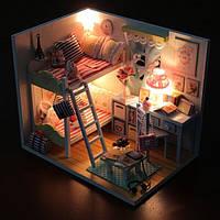 Деревянный детский кукольный домик воспоминания с LED подсветкой + мебель + крышка