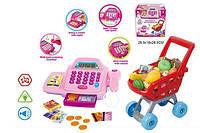 Детский кассовый аппарат игрушка касса супермаркета 66051 на батарейках свет-звук с тележкой продукты деньги в коробке 28,5*16*28,5 см.