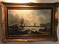 Картина Берег Суэцкого канала худ. Alfred Montague  19 век