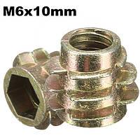 5pcs m6x10mm шестигранником винт в резьбовой вставкой для типа древесины е