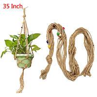 35 дюймов Цветочный горшок с бисером Растение Вешалка Макраме джут Веревка Сад Декоративный шнур