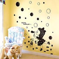 Дети черный комнаты декор маленькая девочка мыльные пузыри стены стикеры девушки комната съемные стикеры стены