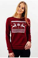 Свитшот Рождественский с оленями M, Бордовый