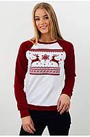 Свитшот Рождественский с оленями Белый, XXL
