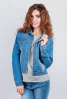 Куртка джинсовая на пуговицах женская №283G006 (Светло-синий)
