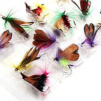 12шт / много летать рыболовные крючки рыболовные приманки приманки перо стальной крюк снасти насекомое искусственный приманки карп