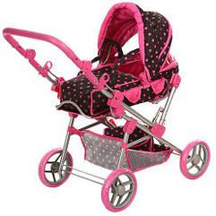 Детская игрушечная коляска 9368 железная для кукол (регулируется ручка, люлька-переноска, корзина, сумка) Royaltoys