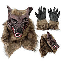 Латексный каучук голова волка маска для волос оборотень перчатки партия страшный Хэллоуин косплей
