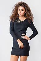Платье женское, ассиметричный вырез 387F003 (Черный)