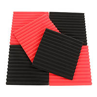 6pcs 30x30x2.5cm акустическая звукоизоляция звукопоглощающих пены шум плитки черного и красного