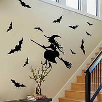 Творческий Хэллоуин дом с привидениями стеклянные стикеры ведьма фоне стены стикер украшения стены искусства