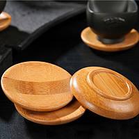 2 штук натуральный бамбук держатель чашки чая с блюдцем кунгфу чай aaccessaries