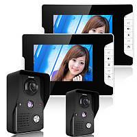 Enniosy813mk22 7 цветной TFT видео домофон дверной звонок домофон комплект 2 камеры 2 монитора ночного видения