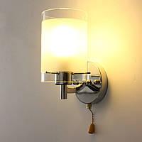 Современные одна голова серебряный хром закрытый настенный светильник лампа фитинги с выключателем