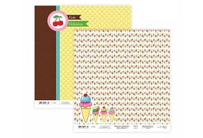 Папір для скрапбукінгу Cake delicious 1 двосторонній 30х30см, 200г/м2, ROSA TALENT