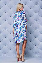 Молодежное платье свободного кроя принт бежевые цветы, фото 3
