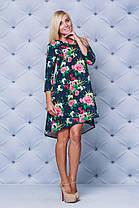 Молодежное платье свободного кроя принт  Розы, фото 3