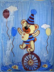 """Плед детский акриловый """"Мишка на велосипеде"""" синий (110х145)"""