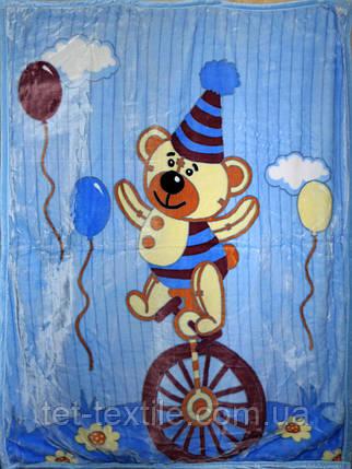 """Плед детский акриловый """"Мишка на велосипеде"""" синий (110х145), фото 2"""