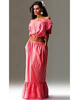Летний костюм двойка топ и юбка розовый