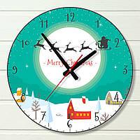 """Настенные часы  - """"Санта Клаус в небе, бирюзовые"""" (на пластике)"""
