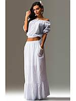 Летний костюм двойка топ и юбка белый