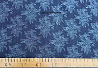 Джинсовая ткань рубашечная с принтом