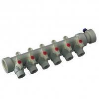 Коллектор с шаровыми  кранами 6-ходов (40-20) PPR Koer