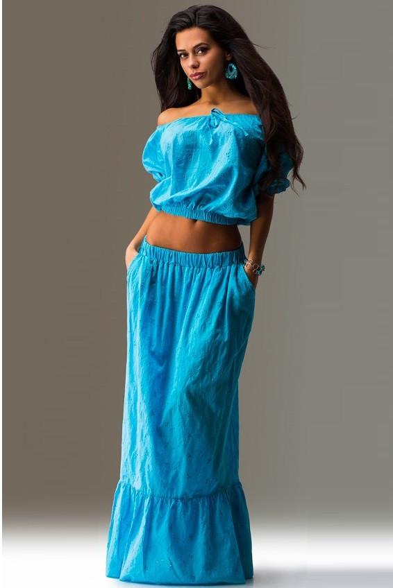 Летний костюм двойка топ и юбка голубой
