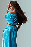 Летний костюм двойка топ и юбка голубой, фото 2