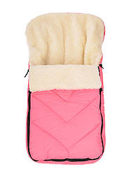 Зимний детский конверт на меху в санки коляску, розовый