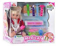 Детская игрушка из пластика кукла 1303 B + набор доктора в чемодане Royaltoys